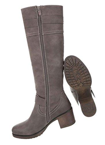 Damen Schuhe Stiefel Mit Deko Hellbraun