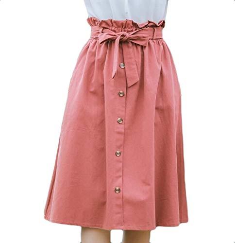 Wofupowga Women A-line Stylish Paper Bag Pocket High Rise Casual Midi Skirt Watermelon Red L