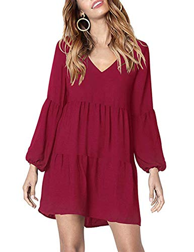 PICK YOUR LOOK Women's V Neck Long Sleeve Ruffle Tunic Dress Loose Casual Pleated Swing Shift Dress Wine Red