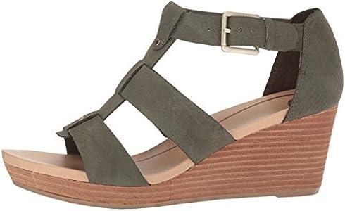 Dr. Scholl's Shoes Women's Barton Wedge Sandal, Green Snake