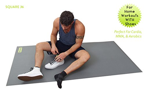 Large Exercise Mat For Cardio Workouts 72'' Long x 60'' Wide x 7mm Thick (6' x 5' x 7mm). For Home-Based Workouts With or Without SHOES. Comes With a Storage Bag & Storage Straps. by Square36 (Image #1)