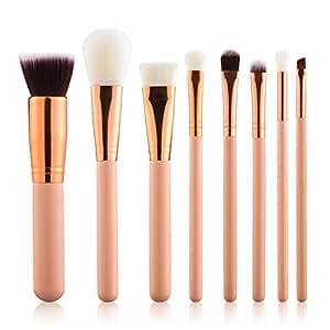 Summifit 8 Pcs Professional Makeup Brushes Set Powder Foundation Contour Blending Eyeshadow Blush Synthetic Kabuki Brush Kit (Pink Rose Gold)