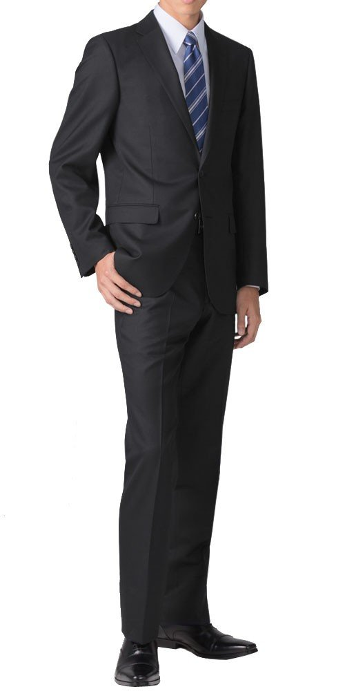 (リクルートスーツ) recruit suit スリムスーツ ウール混 無地 パンツウォッシャブル ブラック/ネイビー ソリッドカラー ビジネス リクルート 就活 スーツ B0785DNLSK Y5 [ 身長165~170cm/ウエスト76cm]|ブラック ブラック Y5 [ 身長165~170cm/ウエスト76cm]