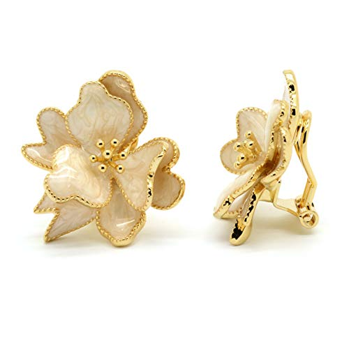 (Clip On Earrings White Enamel Flower Wild Rose Gold Plated Women Fashion)