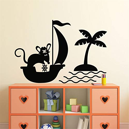 Jifer Lettering Words Wall Mural DIY Removable Sticker Decoration Mouse Pirate Ship for Playroom Nursery Kids Room