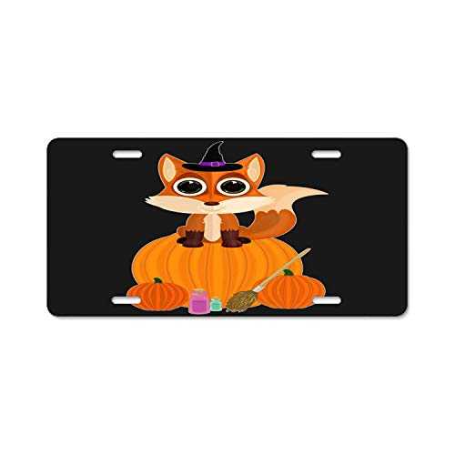 YEX Abstract License Plate Halloween Fox High Gloss Aluminum Novelty Car Licence Plate Covers Auto Tag Holder 12