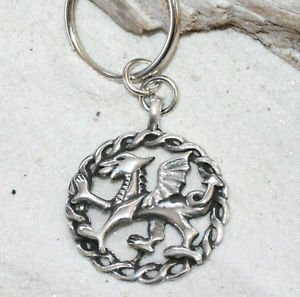 - Pewter Welsh Red Dragon from Wales Flag Keychain Key Tag
