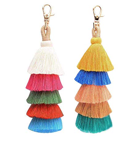 (2 Pieces Colorful Bohemian Tassels Keychain Car Keyring Charm Handbag Bag Purse Pendant (23))