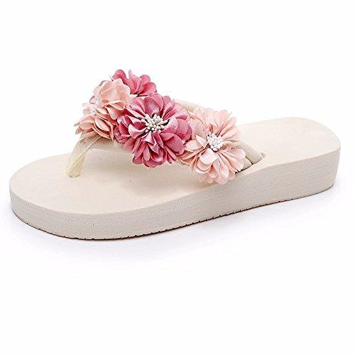 LiUXINDA-XZZ: sandalias de verano y sandalias de verano y flips, encantadoras, gruesas, con fondo antideslizante, zapatos de playa. blanco