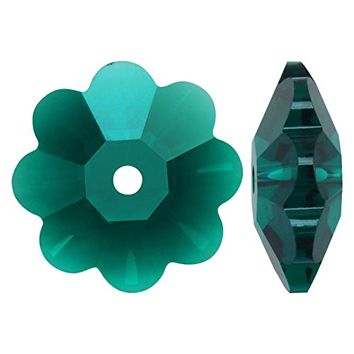- SWAROVSKI ELEMENTS #3700 10mm Crystal Flower Margarita Beads Emerald (6)