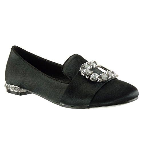 Angkorly - damen Schuhe Mokassin - Slip-On - Schleife - Schmuck - Nieten - besetzt Blockabsatz 1.5 CM Schwarz