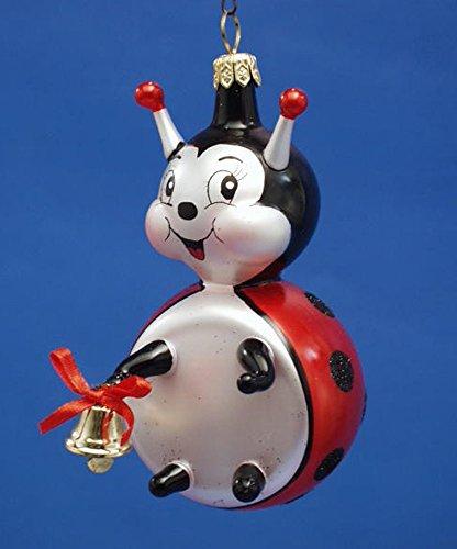 Ornaments Ladybug Bell (De Carlini Ladybug with Bell Italian Mouthblown Christmas Ornament)