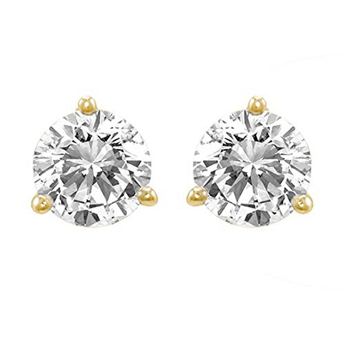 3/4 Carat Solitaire Diamond Stud Earrings 14K Yellow Gold Round Brilliant Shape 3 Prong Screw Back (I-J Color, I1 Clarity)