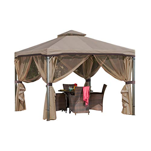 Sonoma Canopy Gazebo, 10' x 10' Soft-Top Garden Tent with Mosquito Netting and Shade Curtains for Patio or Deck ()