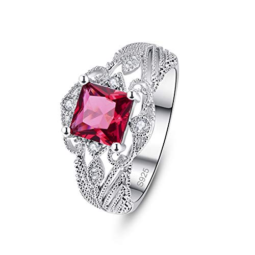 PAKULA 925 Sterling Silver Women Princess Cut Simulated Ruby Filigree Leaf Band Engagement Ring Size 9 ()