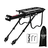 Calar Rear Bike Rack, Adjustable Pannier Bicycle Cargo Rack Quick Release Aluminum Bike Luggage Carrier Rack MTB Luggage Cargo Rack with Reflector