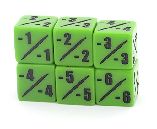 MTG -1/-1 Counter Dice Set - D6 - Pack of 6 - Bright Venom Green - Hedral - Magic: The Gathering TCG CCG - Negative Counters - Minus One - 6d6
