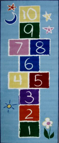 Hopscotch Rug Primary (Roule Fun Time Collection Primary Hopscotch 30X78 Inch Kids Area Rugs)