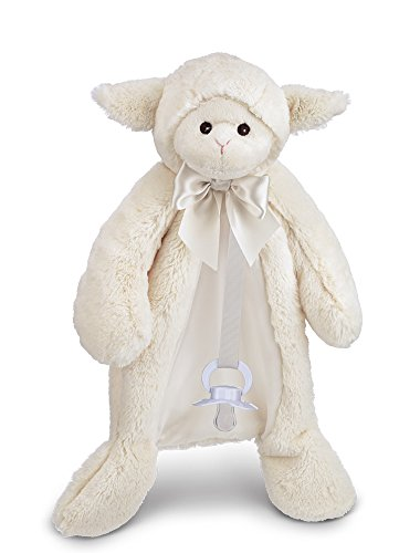 (Bearington Baby Lamby Pacifier Pet, White Lamb Plush Stuffed Animal Lovie and Paci Holder, 15