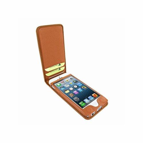 Piel Frama U637AV Classic Straußen Optik Magnetic Ledertasche für Apple iPhone 5C hellbraun