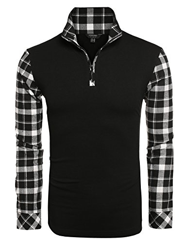 Coofandy Men's Casual Long Sleeve Plaid Shirt Zipper Polo Shirts, Black, XXL