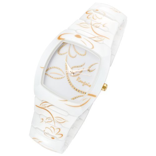 Gold Accent Series (Rougois Ladies Bloom Series White Ceramic Watch Gold Accents Rc2377wg)