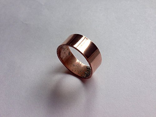 Copper , Gold brass, sterling silver Wedding Band, Wide Copper Band Ring, Men, Women, Eco Reclaimed Recycled Handmade Hand Forged Copper Ring, Rustic,…