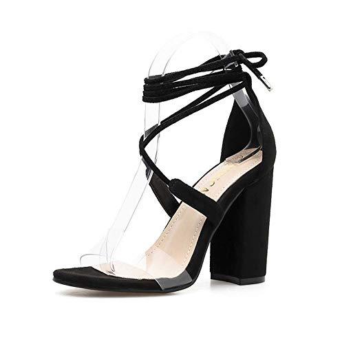 Estilo Toe Mujeres Cuña Tobillo Ghfjdo Alto Del Talón Nuevo Peep Zapatos Verano Partido Tamaño Black Correa Sandalias Étnico Bloque zq00x4H