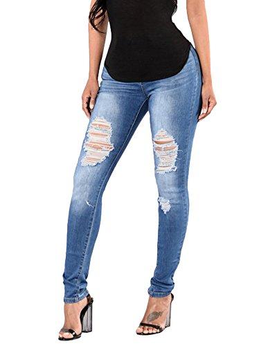Immagine A Sottili Elegante Dei Vita Casuali Alta Jeans Ripped Skinny Pantaloni Strappati Elasticità Come Donna qY6xC1aEw
