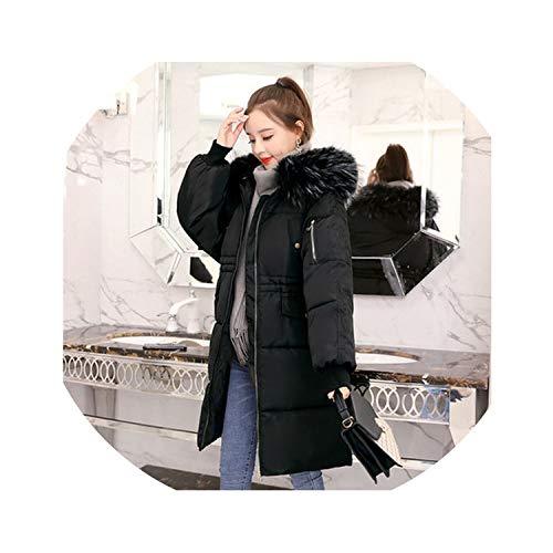 Autumn Winter Down Coat Women Fashion Fur Hoodie Long Down et Cotton Thick Parkas Coat,Black,L ()