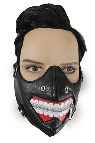 TFJ Men Half Face Goth Muzzel Zipper Open Mouth Halloween Hannibal Mask S&M Costume Scary Black