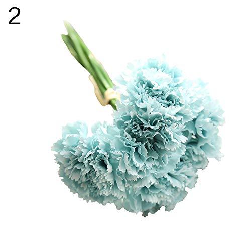 (WskLinft 6 Branches/Bouquet Artificial Carnations Flowers Home Decor - Light Blue)