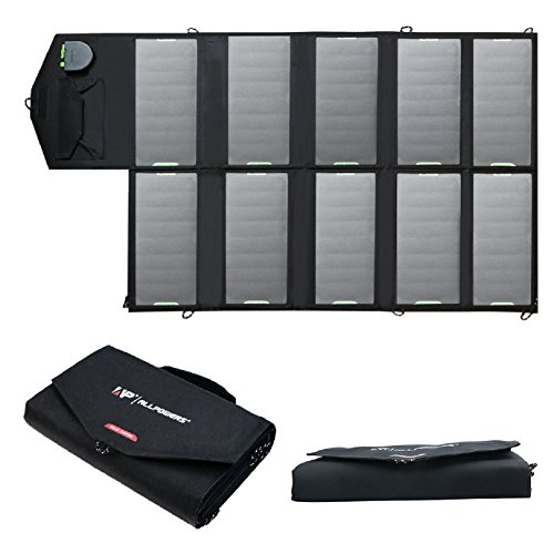 Solar Charger, ALLPOWERS 60W Foldable SunPower Solar Panel (Dual 5V USB with iSolar Technology+18V DC Output) for Laptop, ipad, Smartphone, iphone, Samsung, and 12V Car, Boat, RV Battery by ALLPOWERS