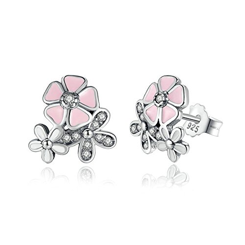 Cherry blossoms Stud Earrings - Authentic 925 Sterling Silver - European-style Charm ()