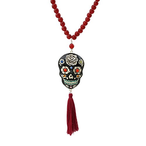 Jucicle Chunky Sugar Skull Day of The Dead Enamel Handpainted Pendant Tassel Long Necklace 30 Inch -