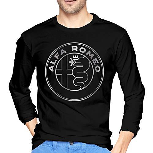 Hengteng Mens Fashion Tops Alfa Romeo Metallic Grey Logo Long Sleeve T-Shirts Black XL