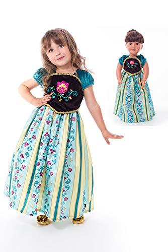 Little Adventures Scandinavian Coronation Princess Dress Up Costume & Matching Doll Dress (Large (Age 5-7))