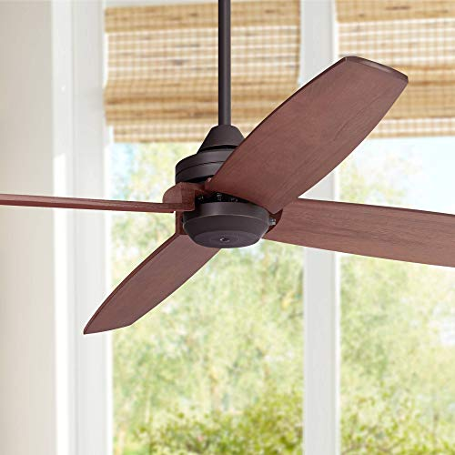 52 Impel Mission Outdoor Ceiling Fan Oil Rubbed Bronze Walnut Wood Damp Rated for Patio Porch – Casa Vieja