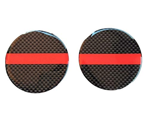(Domed Red Thin Line Reflective Decal Round Circle Kevlar 2x 3D Gloss Resin US Cross Firefighter Fire Rescue Fighter Flag USA Support Hero Shield Window Decal Sticker Motorcycle Door Motorbike Badge Car Truck Tailgate 50 mm)