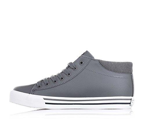 POLO RALPH LAUREN - Chaussure à lacets grise, en cuir, avec logo bleu sur la languette et latéral, coutures visibles et semelle en caoutchouc, garçon, garçons
