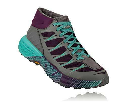- HOKA ONE ONE Women's Speedgoat Mid WP Shoe Grape Royale/Alloy Size 7 M US