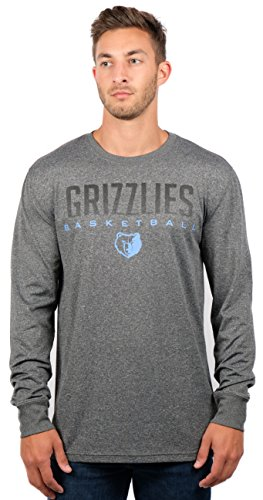 Ultra Game NBA Memphis Grizzlies Men's Athletic Quick Dry Long Sleeve Tee Shirt, Large, Charcoal (Grizzlies Sleeve Long)