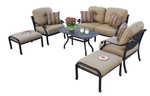 Darlee A/DL603-6PC-60B Nassau 6 PC Deep Seating Outdoor-and-Patio-Coversation-Sets, Antique Bronze (Furniture Aluminum Patio Deep Seating)