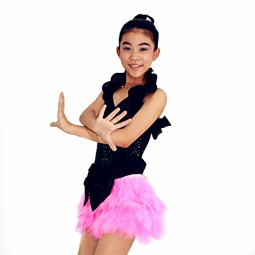 Dance Competition Hip Hop Costumes - MiDee Jazz Dance Clothing Sequin Leotard Ruffle Dance Costumes Feathers Girls Hip Hop Dance Wear Red Ballroom Dress (IC, Pink)