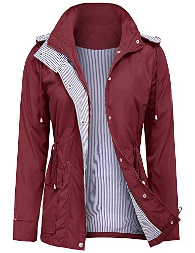 UUANG Womens' Waterproof Cool Raincoat Hooded Hiking Long Rain Jacket (Wine Red,S)