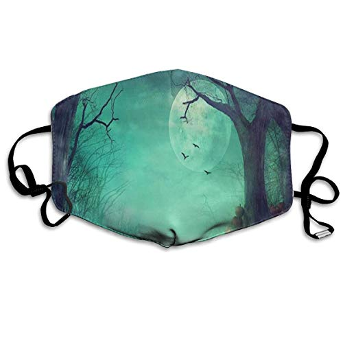 Adjustable Ear Loops Mouth Mask Halloween Spooky Forest Dead Trees Pumpkins Anti-dust Face Mask Washable Dustproof Anti-Bacterial Masks Polyester Breath Safety Warm Outdoor Masks for Men and -