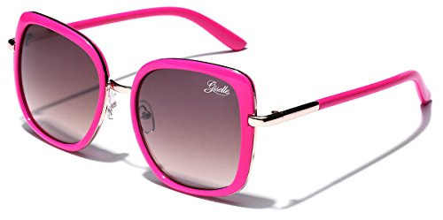 Giselle Oversized Square Women's Vintage Fashion Statement Sunglasses - Gradient Red Lens Pink Frame
