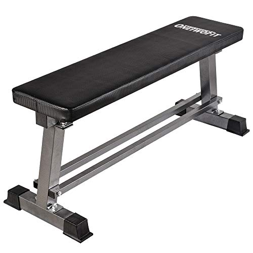 OneTwoFit Flat Weight Bench Dumbbell Training Weightlifting Bench Lifting and Ab Workout with Dumbbell Rack 660lbs Capacity OT070
