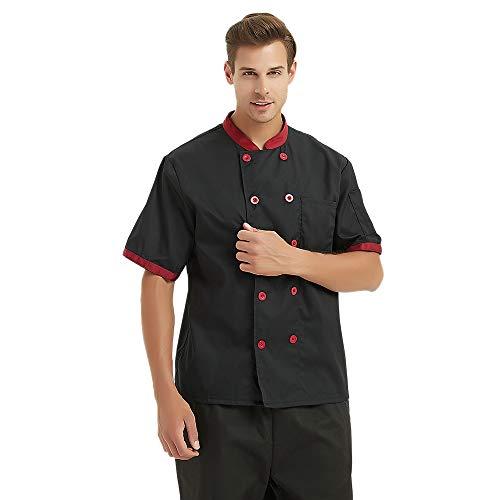 (TOPTIE Unisex Short Sleeve Hotel Restaurant Waiter Chef Coat Jacket-Black-XS)
