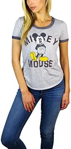 Disney Womens Mickey and Minnie Mouse Burnout Ringer Tee